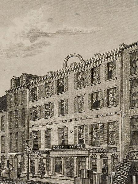 Pearl Street house and Ohio hotel. Engraving, Milo Osborn, circa 1831; from Views in New-York and its Environs, from Accurate, Characteristic, & Picturesque Drawings, Taken on the Spot, Expressly for this Work.  (Courtesy Special Collections, University of Virginia Library.)
